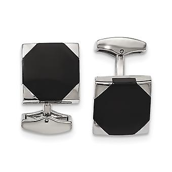 Stainless Steel Polished Black Rubber Square Cuff Links Jewelry Gifts for Men