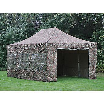 Faltzelt FleXtents PRO 4x6m Camouflage, mit 8 Seitenwänden