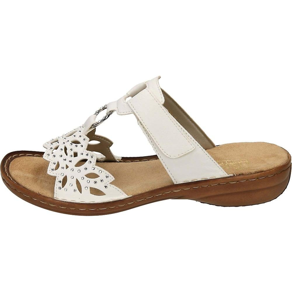 Rieker Hook And Loop Sandals Open Toe 608A6-80 White