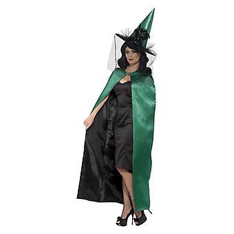 Capa de bruxa luxo reversível, Teal & preto
