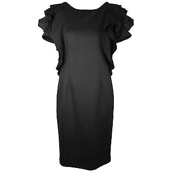 Frank Lyman Fitted Black Dress With Rose Detail