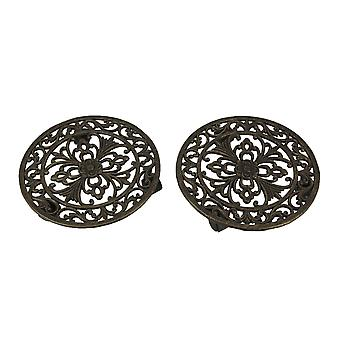 Cast Iron Heavy Weight Floral Scroll Plant Caddy with Wheels Set of 2
