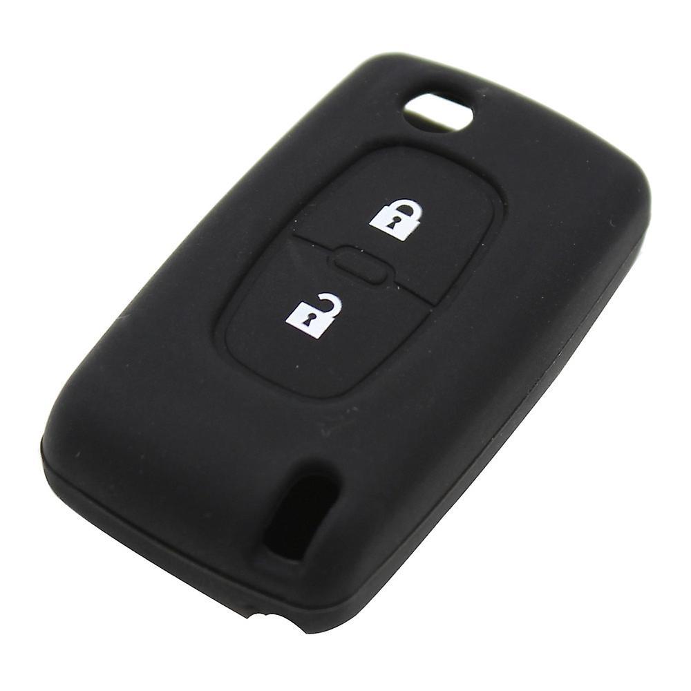 Silicone 2 buttons car key case PEUGEOT black