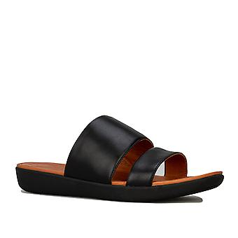 Womens Fitflop Delta Leather Slide Sandals In Black