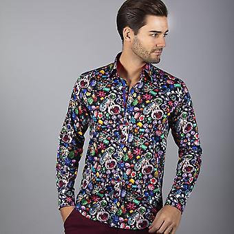 CLAUDIO LUGLI Herren Shirt mit Edelstein-Druck