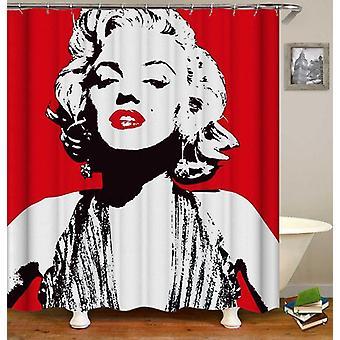Rideau de douche rouge et blanc de Marilyn Monroe