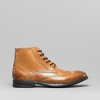 Mister Carlo Leonardo Mens Leather Brogue Ankle Boots Tan