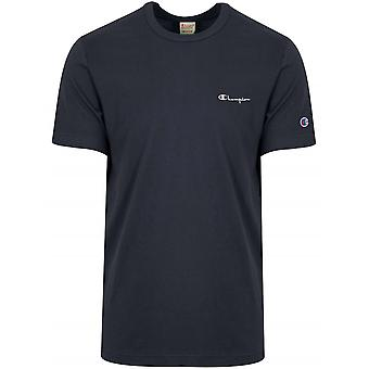 Champion Champion Reverse Weave Navy Blue Logo T-Shirt