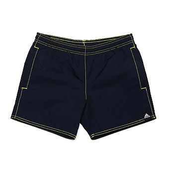 Junior Boys adidas Solid Swim Shorts In Navy- Ribbed Waistband- Pockets To