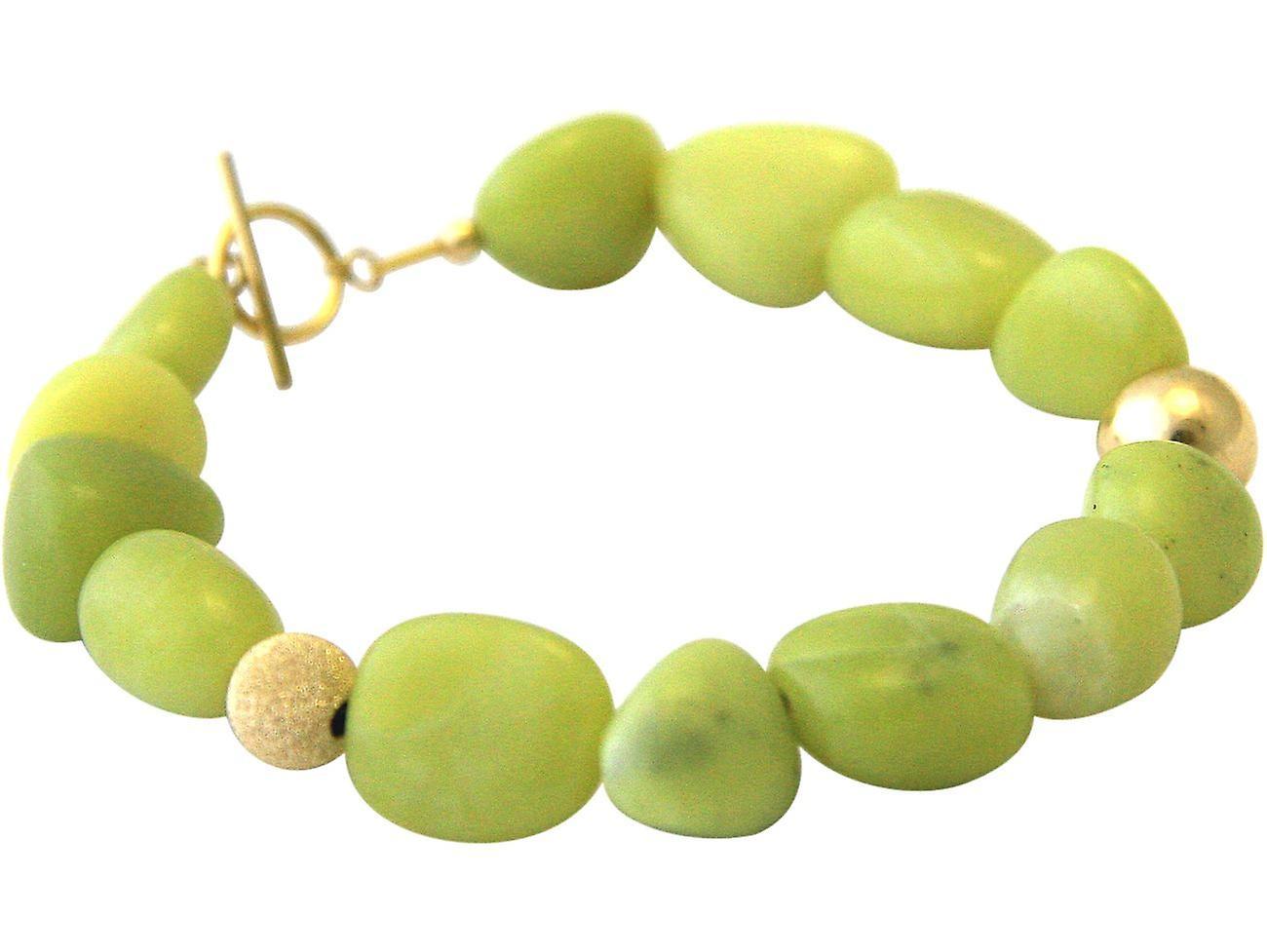 Gemshine Armband mit grünen Jade Edelsteinen in 925 Silber oder vergoldet