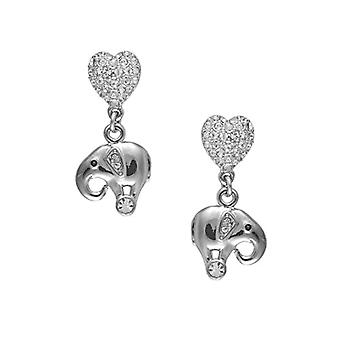 Cristalina-Bracciale with elephants and hearts - color: silver-pendant earrings - with Swarovski crystals