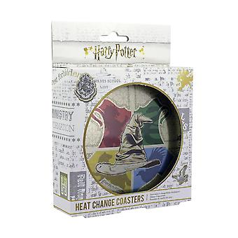 Harry Potter Coasters Thermal Effect Talking Hat Printed, Made of Cork, in Metal Box.