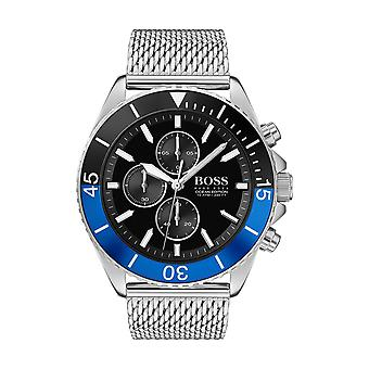 Montre Hugo Boss 1513742 - Ocean edition chrono Cadran noir Maille milanaise argent�e Homme