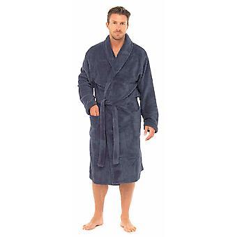 Tom Franks Mens Classic Textured Supersoft Fleece Nightwear Bathrobe