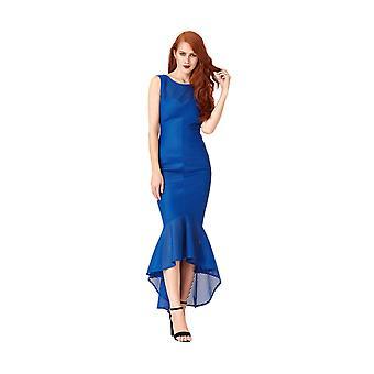 Goddiva Textured Fishtail Maxi Dress