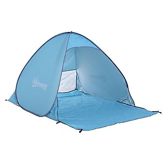Outsunny Pop up Beach Tent  Instant Portable Camping Picnic Hiking  UV Protection Shelter with Carry Case Blue