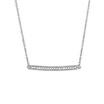 14k White Gold Shiny Bar Necklace With 0.12ct. Diamond Lobster Clasp 18 Inch Jewelry Gifts for Women