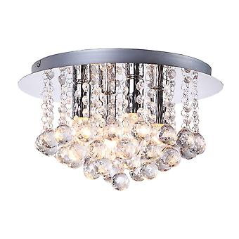 THLC Modern Elegant 4 Bulb Crystal Flush Ceiling Light In Polished Chrome Finish
