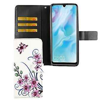 Huawei P30 lite New Edition pocket telefoon hoescover cover flip case met kaartlade lotus bloem