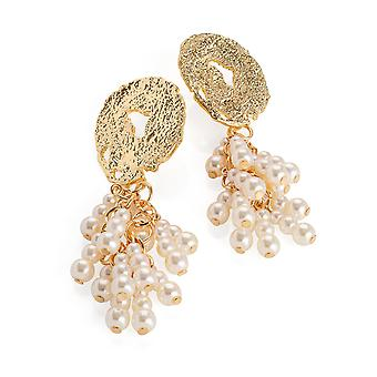 Gold Colour Cream Pearl Effect Tassel Drop Earrings