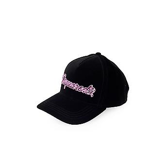 DSQUARED2 NERO VELVET PINK SEQUINS BASEBALL CAP