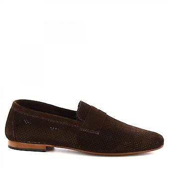Leonardo Shoes Men's handmade loafers shoes dark brown openwork suede leather