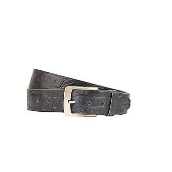 Luxury Dark Blue Leather Men's Belt With Croco Structure