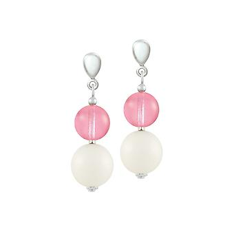 Eternal Collection Jamboree Rose Pink And White Czech Glass Drop Clip On Earrings