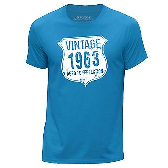 STUFF4 Men's Round Neck T-Shirt/ Vintage Born In 1963/Blue