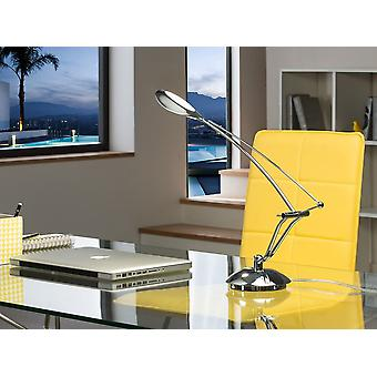 Schuller Lucila - LED desk table lamp, made of aluminium and chromed metal. Adjustable arm. Head with top and bottom opal diffuser of polycarbonate. 5,3W LED. 4000K. 500 lm. G plug type (UK). - 836104UK