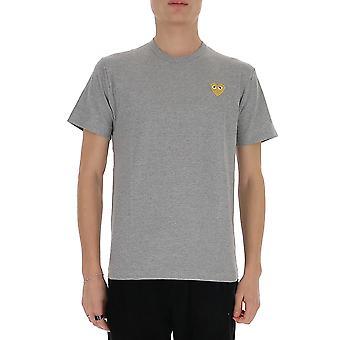 Comme Des Garçons Play P1t2163 Men's Grey Cotton T-shirt