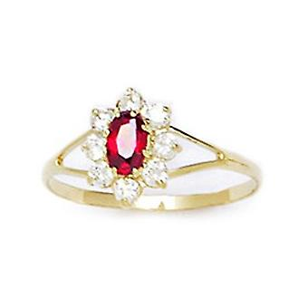 14k Yellow Gold Red CZ Cubic Zirconia Simulated Diamond Size 5.5 Oval Flower for boys or girls Ring