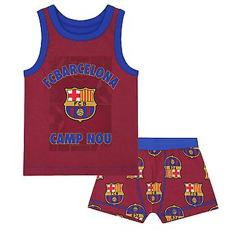 FC Barcelona Official Football Gift Boys Boxer Shorts & Vest Set