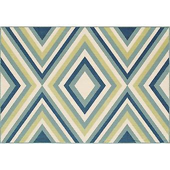 Utomhus mattan för terrass / balkong blå grön vit Vitaminic Rombi blå grön 133 / 190 cm matta inomhus / utomhus - för inomhus och utomhus