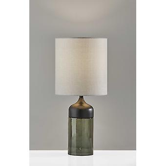 """10"""" X 10"""" X 22.75"""" Black Wood Glass Tall Table Lamp"""
