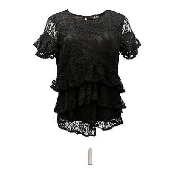 Du Jour Women's Top Tiered Knit Lace Top c/ Back Keyhole Black A342175