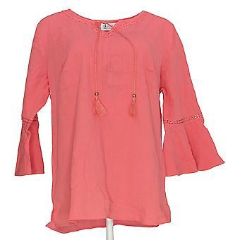 Denim & Co. Frauen's Crinkle Gauze Bell Slve Top w / Dot Spitze rosa A306777