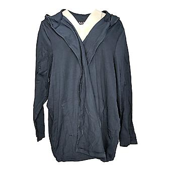 Anybody Women's Plus Sweater Loungewear Cozy Hooded Cardigan Blue A349790