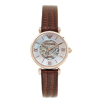 Armani Watches Ar1993 Meccanico Rose Gold & Brown Textured Leather Automatic Women's Watch