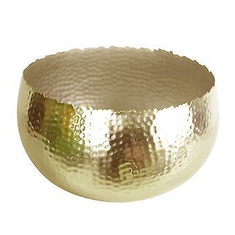 Metal XL tazón de fuente 32 x 20cm martillado color oro - borde con curvas