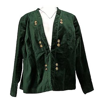 Du Jour Women's Plus Suit Jacket/Blazer Velvet w/ Buttons Green A300212