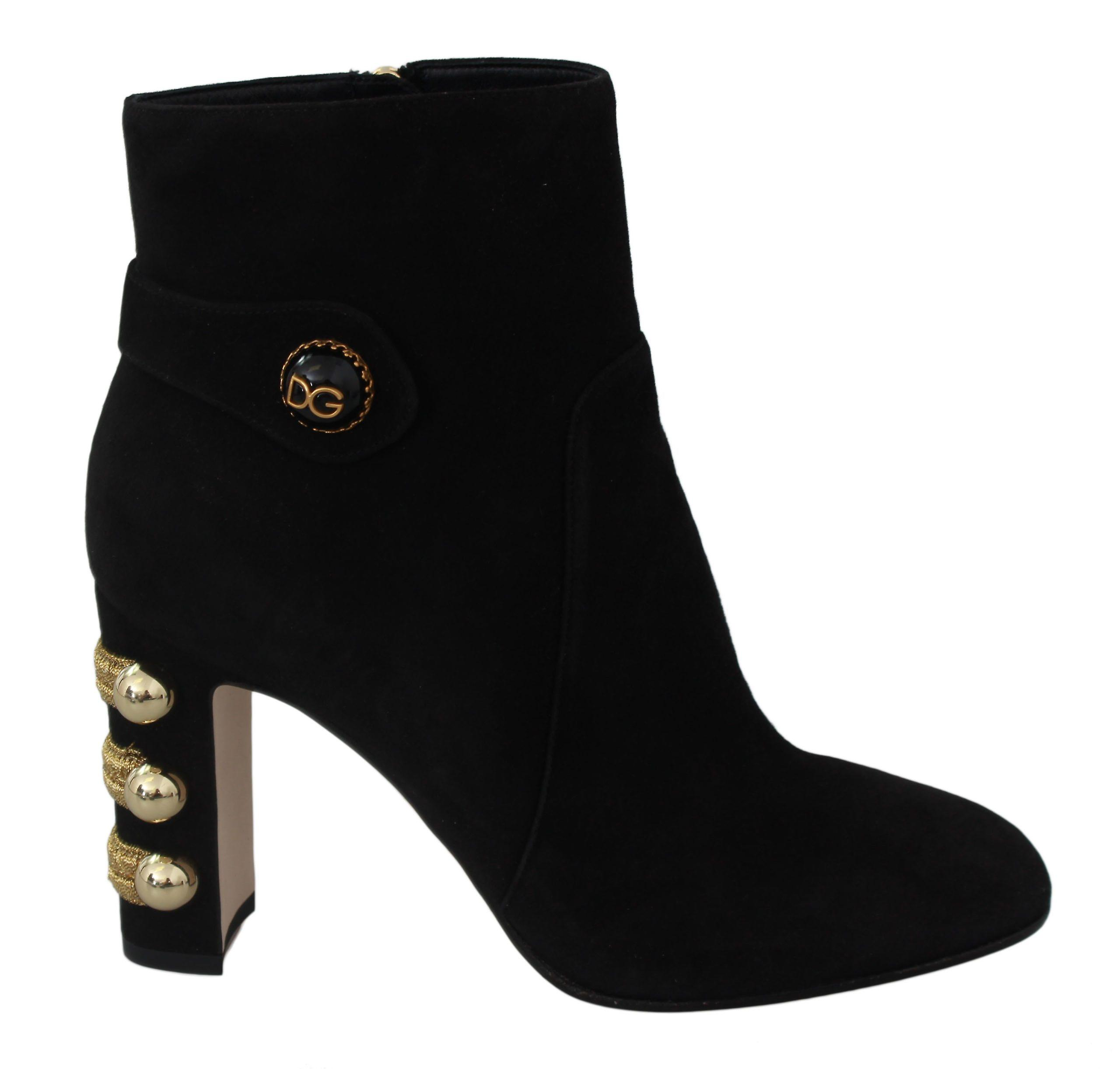 Dolce & Gabbana Black Suede Heel Ankle Boots Booties Shoes UmDvV