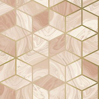Marmer geometrisch behang Blush Rasch 248951