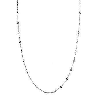 14k White Gold 1.5mm Whitew Diamond Station Diamonds Necklace .32 Dwt Jewelry Gifts for Women - Length: 16 to 20
