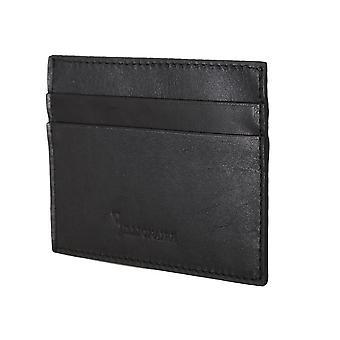 محفظة حامل البطاقة الجلدية السوداء