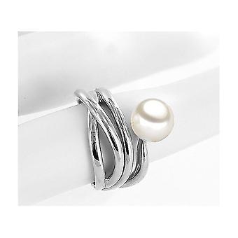 لونا- لؤلؤة - حلقة - حلقة لؤلؤة - 585 الذهب الأبيض - خاتم مقاس 56 (17.8 مم)