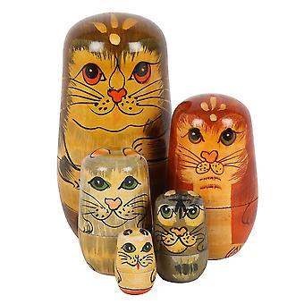 משהו שונה בובות רוסי חתול (סט של 5)