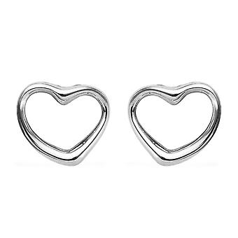 RHAPSODY 950 Platinum Open Heart Earrings Best Gift for Women and Girls