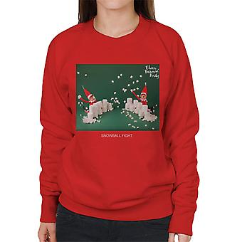 Elves Behavin' Badly Snowball Fight Women's Sweatshirt