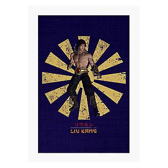 Liu Kang Retro japanische Mortal Kombat A4 Druck